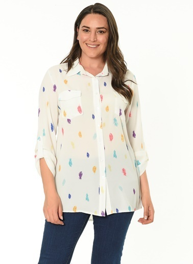 Selen Gömlek Bluz Ekru